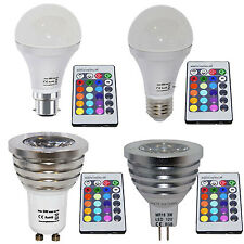 16 Color Changing RGB LED Light Bulb + Remote Control B22, E27, GU10, MR16