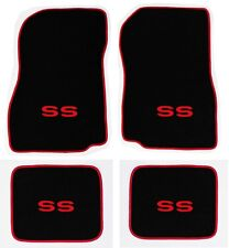 NEW! 1968-1972 CHEVELLE Floor Mats Black Carpet Embroidered Red SS Binding Set A