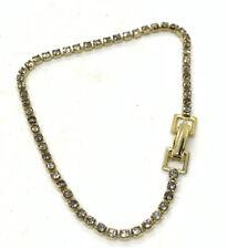 "New listing Vintage Clear Rhinestone Gold Tone Tennis Bracelet 7"""
