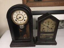 Pair Victorian Mantle Shelf Clocks For Parts New Haven Ingraham