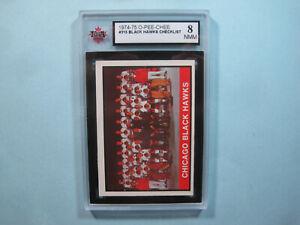 1974/75 O-PEE-CHEE HOCKEY CARD 315 CHICAGO BLACK HAWKS CHECKLIST KSA 8 NM/MT OPC