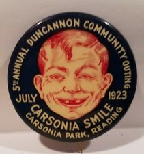 """1923 Carsonia Smile Early ALFRED E NEWMAN Type Character Pinback 1 3/4"""" Reading"""