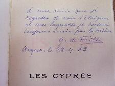 ENVOI AUTOGRAPHE/ LES CYPRÈS ( Sonnets ) Jean de Foville Préface d'Albert Sorel