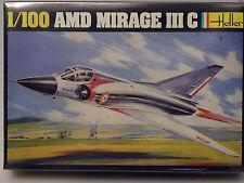 PRL) AMD MIRAGE III C JET MONTAGGIO MODELLINO MODEL 1:100 PLANE AVION HELLER