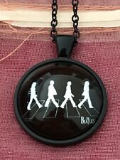 The Beatles Walking Silhouette Music. Glass Cabochon Dome Pendant Necklace. NEW