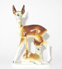 Statuette d'une biche et son faon en Porcelaine allemande de Grafenthal parfait
