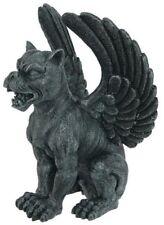 "Gothic Creature Winged Lioness Gargoyle Statue Desktop 6.5"" Figurine Faux Stone"