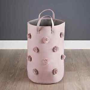 Pompom Laundry Hamper With Handles Blush Pink Laundry Basket  55cm x 35cm