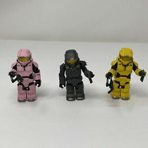 Mega Bloks Halo Master Chief Lot of 3 Pink / Grey / Yellow  USED WITH WEAPONS