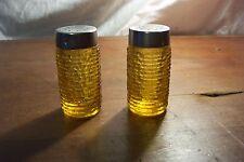 Vintage Anchor Hocking Soreno Salt & Pepper Shakers - Amber - Gold - Chrome Tops