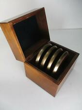Vtg B&S Specialties Set of 4 Solid Brass Round Coasters D w/Storage Wood Box USA