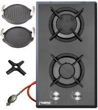 Phoenix Gas Hob Glass Gas Cooker 2 Lamps + Cast Grill Plate + herdkreuz