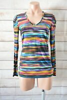 George Tunic Stretch Top Size 8 Black Blue Purple Rainbow Long Sleeve