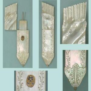Antique Mother Of Pearl Palais Royal Needle Case w/ Pansy * French * Circa 1820