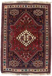 Tribal Small Wool Hand-Knotted 3'5X5'0 Red Oriental Rug Farmhouse Decor Carpet
