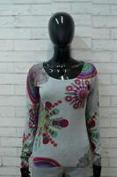 Maglione DESIGUAL Donna Taglia XS Pullover Cardigan Sweater Woman Cotone Grigio