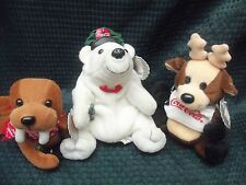 Lot of 3 Coca-Cola Bean Bag Plush Walrus Reindeer and Polar Bear