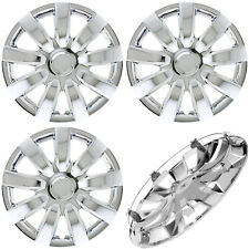 "SET 4PC CHROME HUB CAPS FITS STEEL WHEELS 15""  WITH METAL CLIPS WHEEL COVERS CAP"