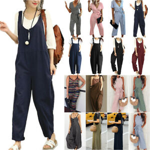Women Lady Dungarees Overalls Baggy Casual Playsuit Jumpsuit Pant Plus Size