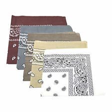 5 x Paisley Pattern Bandana Head / Neck Scarf 100% Cotton (White, Browns & Grey)
