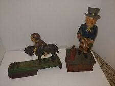 2 Vintage Cast Iron Banks, I Always Did 'Spise A Mule,1886 Uncle Sam Bank