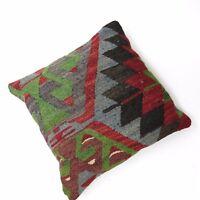 "Vintage Turkish Kilim Rug Cushion Thrown Pillow 15.5"" Square Boho Home Decor"