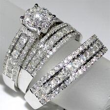 Women's 10K White Gold Over 2CT VVS1 Diamond Engagement & Wedding Ring All Size