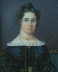 c.1830 ANTIQUE MINIATURE PAINTING - PORTRAIT of a PRETTY YOUNG WOMAN