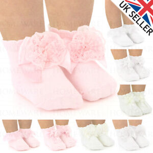 BABY GIRLS LACE BOW ANKLE SOCKS SPANISH SOFT NEW BORN & INFANT UK DESIGNER BRAND
