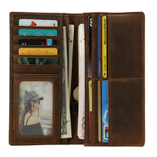 RFID Blocking Men's Real Leather Slim Long Bifold Wallet Cash Card Holder Purse