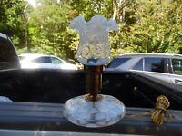 Gorgeous Vintage Fenton French Opalescent Coin Spot Pancake Lamp