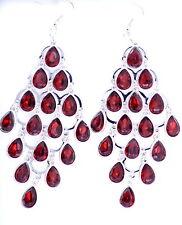 10.8cm long silver tone red crystal drop chandelier earrings