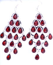 10.8cm de Largo Gota De Cristal Rojo Tono Plata Pendientes De Araña
