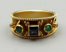 Gikas 18K Gold Blue Sapphire Emerald Diamond Ring Sz 8.5 Ornate Greek Signed