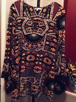 Patrons of Peace Women's Sz XS Long Bell Sleeve Racerback Abstract Print Dress