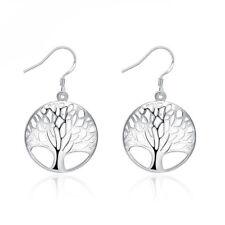 Charm Tree of Life 925 Sterling Silver Hook Earrings Fashion Women Jewelry Gift