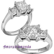 5.05 CT CERTIFIED H VS2 PRINCESS DIAMOND ENGAGEMENT 3 STONE RING PLATINUM size 5