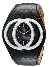 Versace Eclissi 84Q Black Gullloche Dial Black Leather MensWatch 84Q99SD009-S009