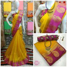 Riva Womens Tussar Silk Yellow Colour Saree