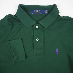 Ralph Lauren Purple Pony Men's Size Small Green Long Sleeve Polo Shirt
