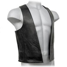 Real De Cuero Negro para Hombre Chaleco de barra con anillos laterales Biker Cuero De Vaca Cuero CHALECO