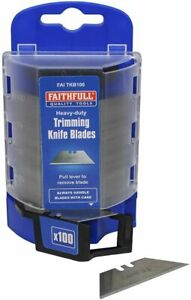 Faithfull H/Duty Trim Knife Blades Trimming, Fitting Carpets Vinyl Tiles Box 100