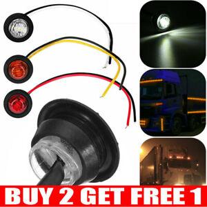 2x 12V Car Truck Lorry Round LED Bullet Button Rear Side Mini Marker Light Lamp