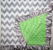 NEW Lime Minky Dots Baby Blanket White Gray Silver Satin Ruffle CHEVRON Boy Girl