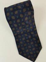 Brioni Silk tie necktie Luxury blue geometric shapes gold chain keeper #149