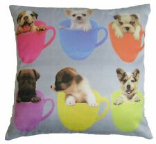"TEA CUP PUPS PUPPIES DOGS BOXER CHIHUAHUA PUG CUSHION COVER 16""-40CM"
