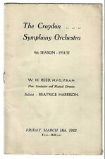 1932 Beatrice Harrison Croydon Symphony Orchestra programme cello cellist