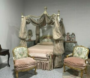 Elaborate Princess Queen Canopy Bed w/ Mattress, Custom Bedding & Throw Pillows