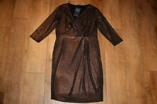 NEW&TAGS M&S bronze party dress SIZE 14 shimmer evening stretch cocktail twist