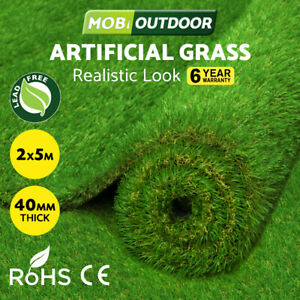 MOBI OUTDOOR Artificial Grass Synthetic Fake Lawn 2mx5m Turf Plastic Plant 40mm
